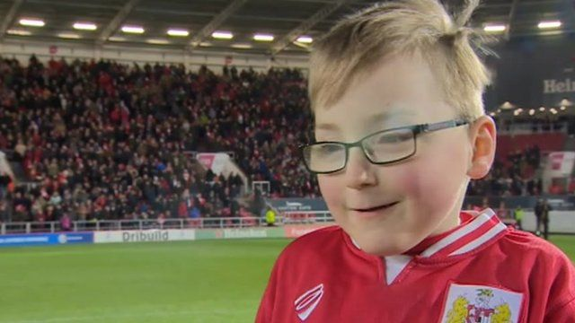 Oskar Pycroft led Bristol City out as team mascot