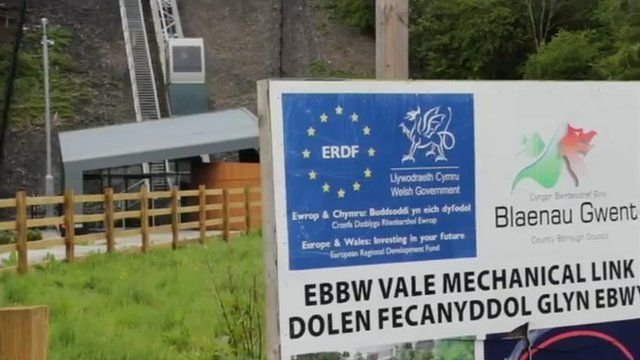 A sign showing an EU-linked project in Blaenau Gwent