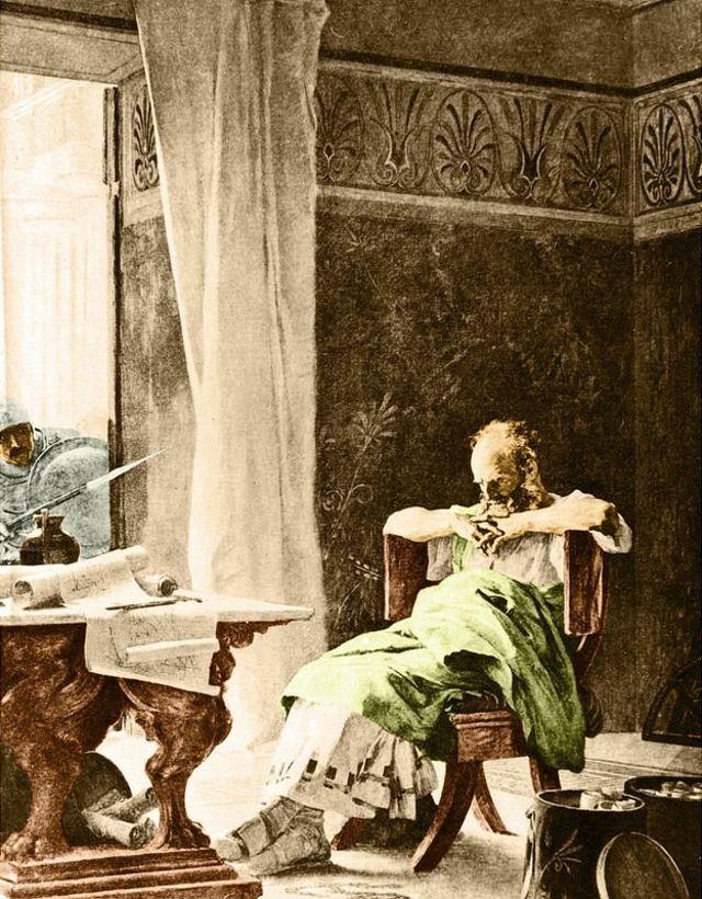 Escena en la que Arquímedes está pensando en su casa y un soldado se asoma por la ventana