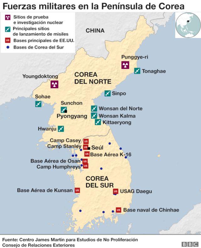 Gráfico sobre las fuerzas militares en la Península de Corea.