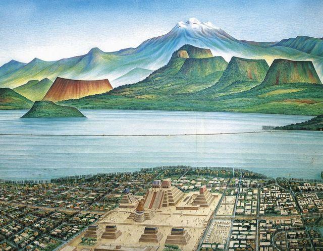 """Este dibujo muestra una vista panorámica de Tenochitlan y del llamado """"Valle de México""""."""