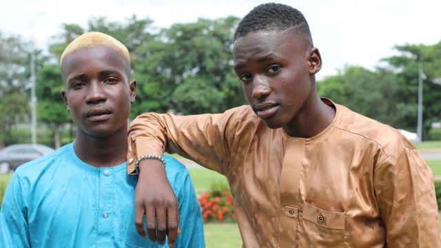 Two Hausa teenagers in kaftan