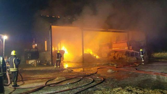 農場では今年2月、電気系統の故障でわら60トンが燃えた
