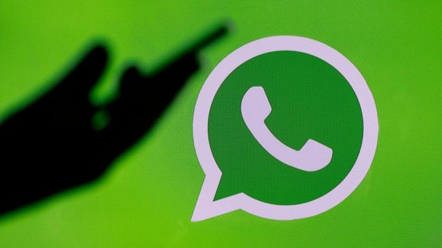 In this photo illustration, the social media application logo, WhatsApp is displayed on the screen of a computer on March 15, 2019 in Paris, France.