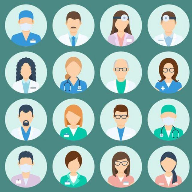Ilustração mostra 16 personagens genéricos representando médicos, enfermeiras e outros profissionais da saúde