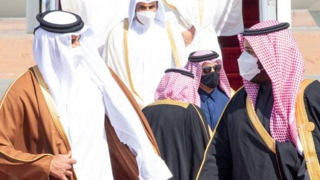 محمد بن سلمان يستقبل الشيخ تميم