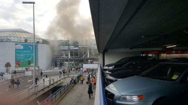 Smoke over Zaventem airport