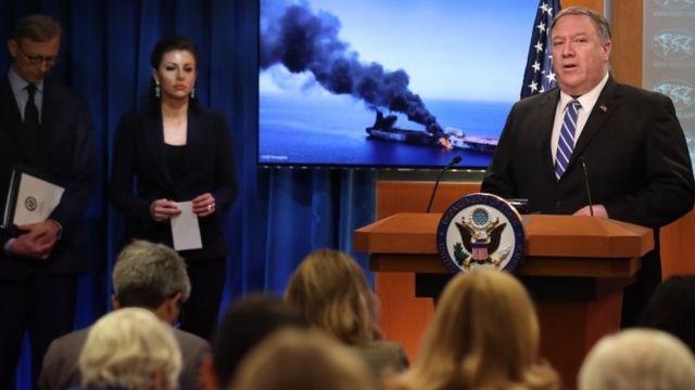 secretario de Estado de Estados Unidos Mike Pompeo en una rueda de prensa el 13 de junio.