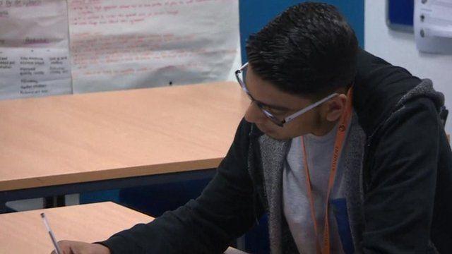 A student studies during Ramadan