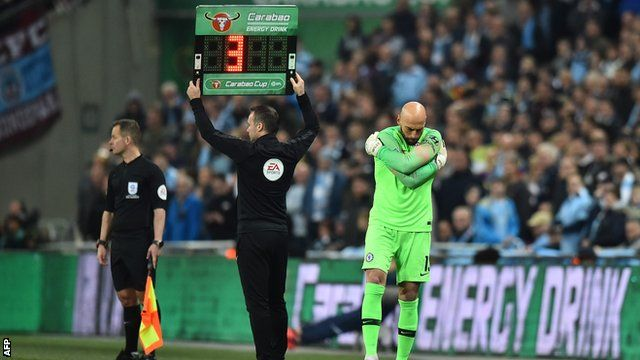 Willy Caballero is ready to come on for Chelsea