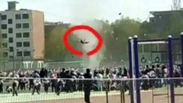 Boy lifted into the air by a 'dust devil' in China
