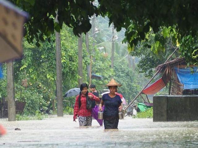 လေးမြို့မြစ်ရေကြီးလို့ မင်းပြားတစ်မြို့လုံးရေကြီး