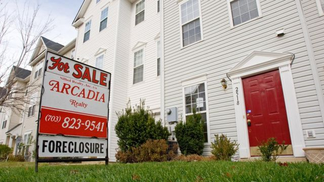 A house is put up for sale after foreclosure in the US state of Virginia