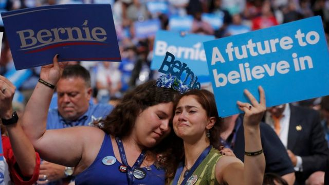 Votantes de Bernie Sanders.