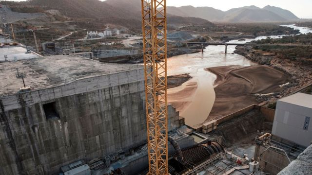 This file photo taken on December 26, 2019 shows a general view of the Blue Nile river as it passes through the Grand Ethiopian Renaissance Dam (GERD), near Guba in Ethiopia
