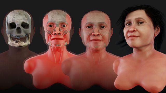 As etapas da reconstituição facial de Eva Naharon