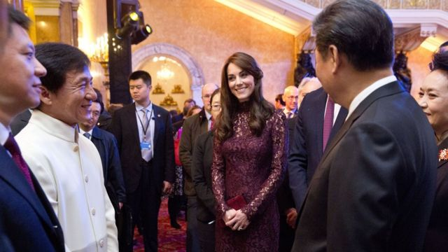 President Xi and the Duchess of Cambridge meeting Jackie Chan