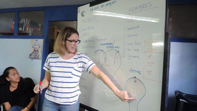 Cassandra Weller explicando técnicas