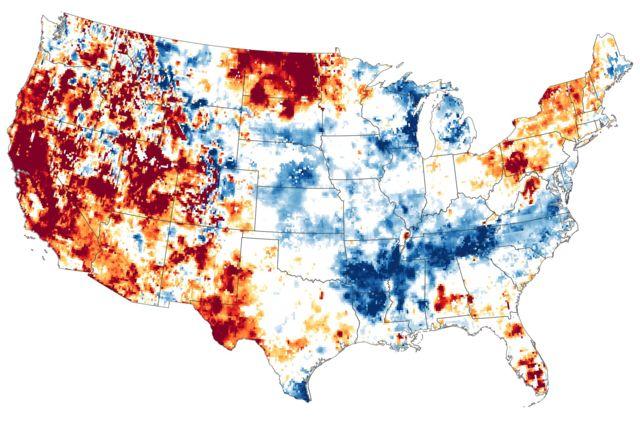 ABD'de bölgelerin kuraklıktan etkilenme düzeyleri, kırmızı renkli noktalarda en yüksek düzeyde.