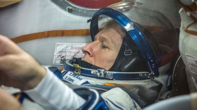 Tim Peake trying on the Sokol spacesuit he will wear during his flight to the International Space Station.