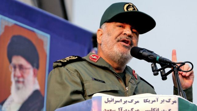 Iranian Revolutionary Guards commander Major General Hossein Salami speaks during a pro-government rally in Tehran on 25 November 2019