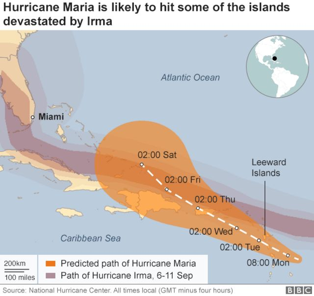 Graphic shows Maria's predicted path across the eastern Caribbean