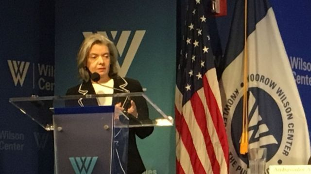 A presidente do Supremo Tribunal Federal, Cármen Lúcia, dá palestra dos EUA