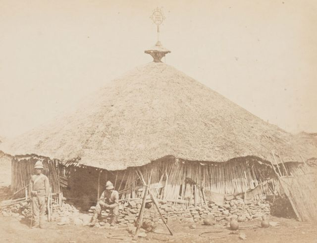 V&A Museum, Maqdala 1868 display: Maqdala church photograph by the Royal Engineers, Albumen print