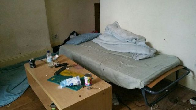 Filthy bed at one of the houses