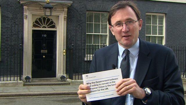 James Landale with leaflet