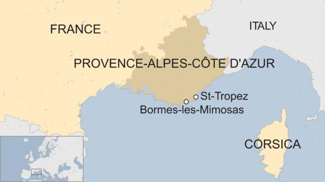 プロバンス・アルプ・コートダジュール(Provence-Alpes-Côte d'Azur)地方とボルム・レ・ミモザ(Bormes-les-Mimosas)の位置
