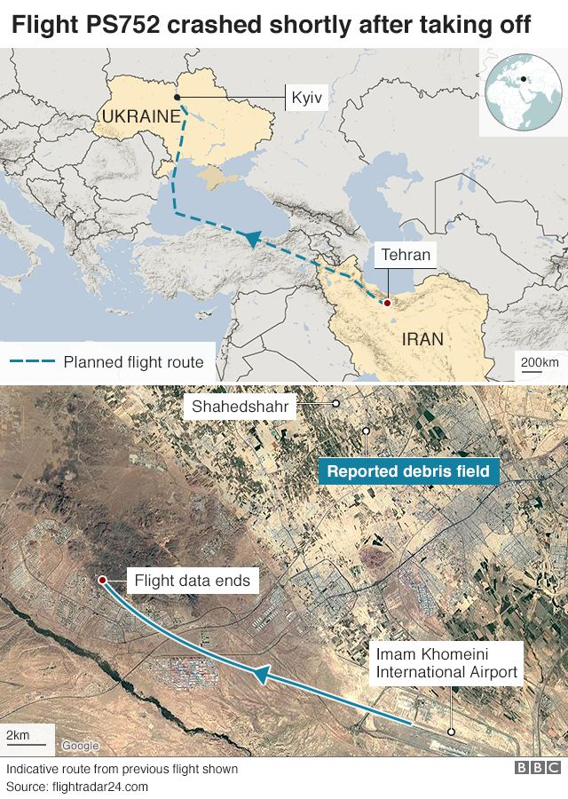 A map showing the flight path of a plane that crashed in Iran