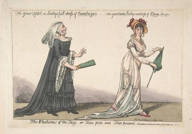 Ilustração mostrando duas mulheres, uma com vestido robusto clássico do século 19, e outra com vestido de musselina