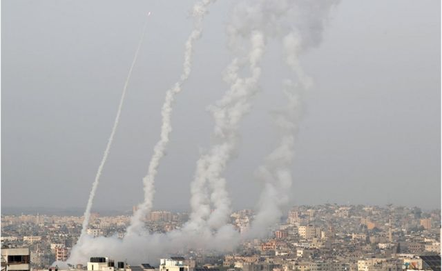 Rockets are launched by Palestinian militants into Israel, in Gaza, 10 May 2021