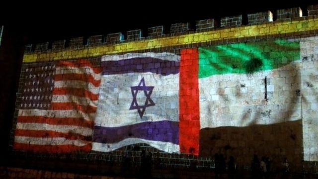 أعلام إسرائيل والامارات والولايات المتحدة