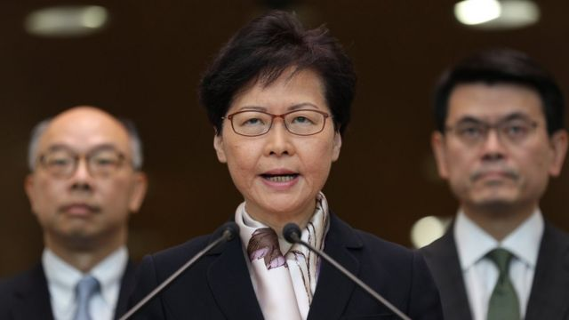 Hong Kong chief executive, Carrie Lam, speaks to journalists on 5 August 2019, the eve of a general strike