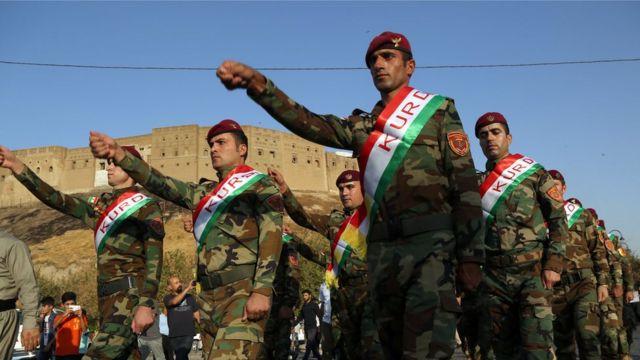 Marchas a favor del referéndum en Erbil