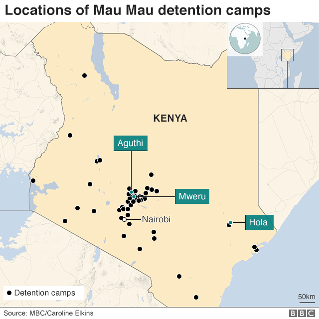 Map showing location of detention camps