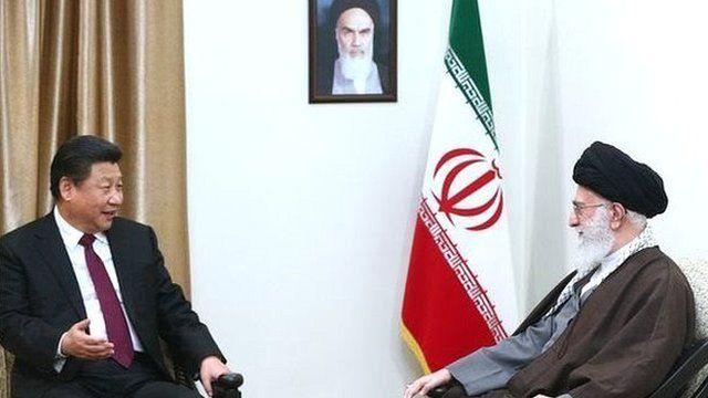 دیدار رهبر ایران با رئیس جمهوری چین ۱۳۹۴