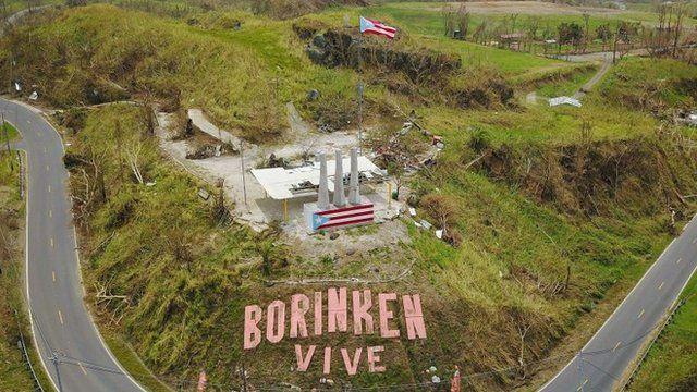"""Imagen de Puerto Rico con el cartel """"Borinken vive"""""""