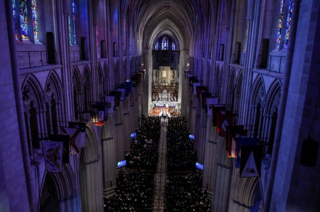 A view inside the Washington National Cathedral in Washington, DC