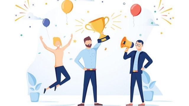 Desenho de um homem levantando um troféu com duas pessoas festejando