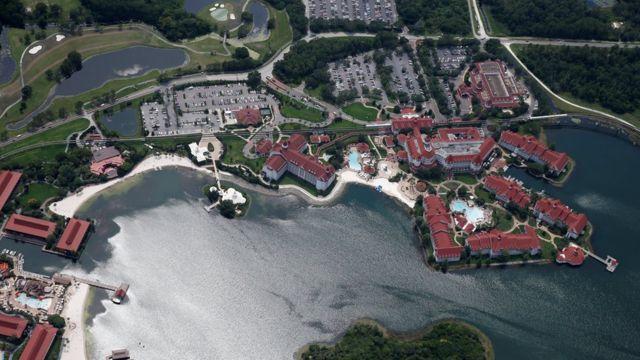 Vista aérea del Grand Floridian Resort.