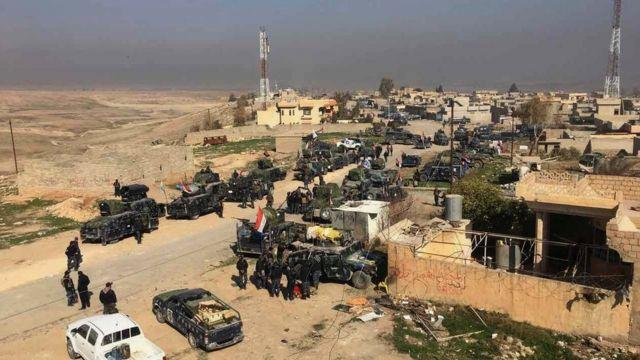 تجمع لقوات من قوات الأمن العراقية المشاركة في معركة الموصل