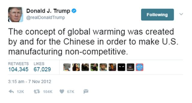 Donald Trump tweet on climate change