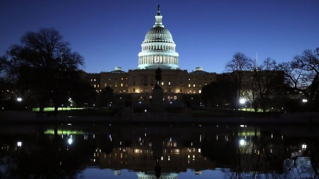 The US Capitol casts a reflection on 29 November 2017