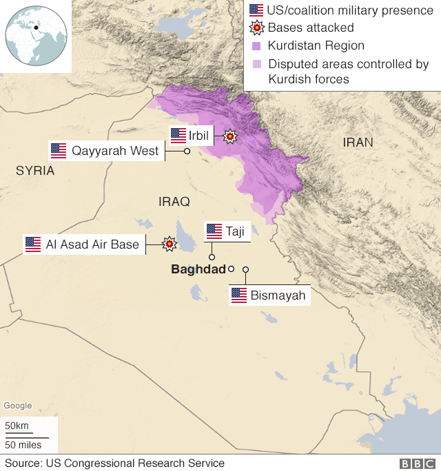 Map showing US military presence in Iraq and bases targeted by Iranian missiles