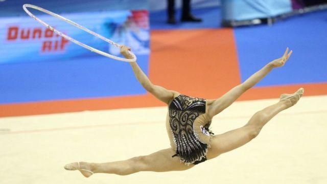 Linoy Ashram from Israel during the European Rhythmic Gymnastics Championships.