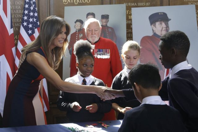 First Lady Melania Trump meets school children at the Royal Hospital in Chelsea, London