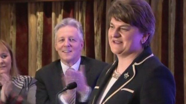 Arlene Foster has been elected as the first female leader of the Democratic Unionist Party.